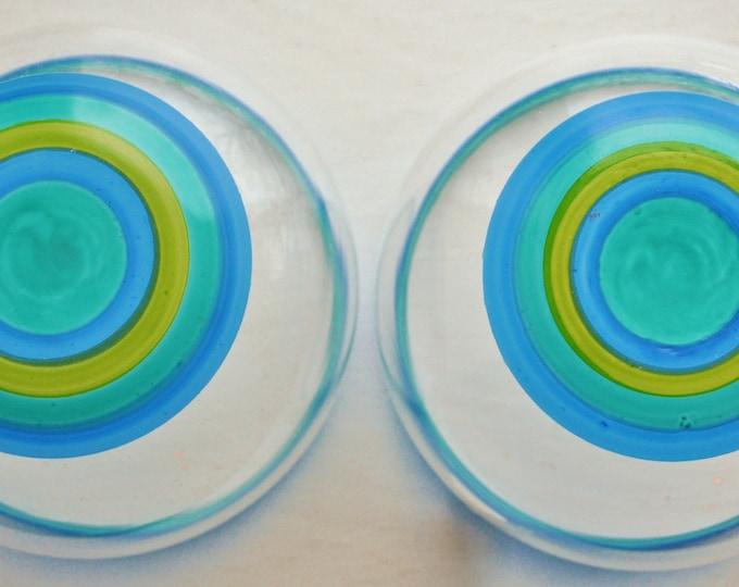 Skruf Swedish Glass Cordials Striped Turquoise and Green Modernist Gullaskruf