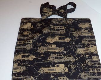 Antique classic car bow tie and pocket square