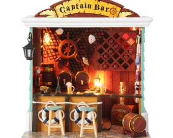 Captain's Bar* Coffee bar * Coffee shop * cafe * Light and music * DIY Handcraft Miniature Project * Wooden Dollhouse Kit * Birthday Gift