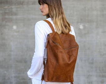 Brown Leather Backpack,  Women Travel Bag, School Bag, Honey Brown Leather Bag, Handmade - Honey Brown Lou