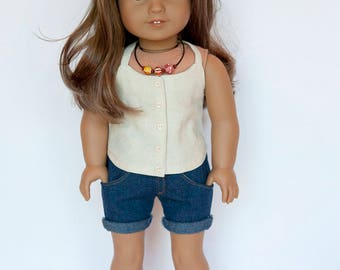 American girl doll sized endless summer halter top with buttons - cream colored linen