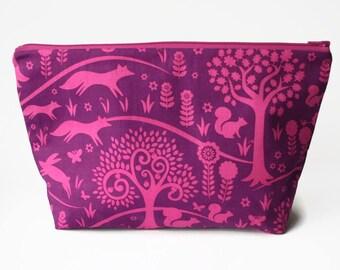 Purple Knitting Project Bag, Knitter Gift, Sock Knitting Bag, Crochet Project Bag, Large Zipper Pouch, Sock Sack, Knitting Bag