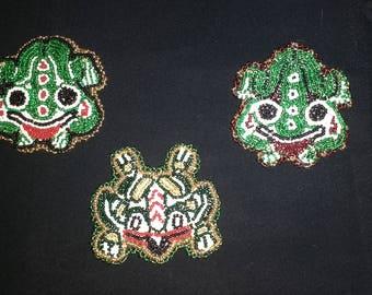 Tlingit Beaded Frog Pins