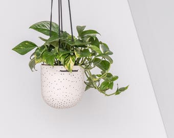 STAK Ceramics Black on White Dot Hanging Planter
