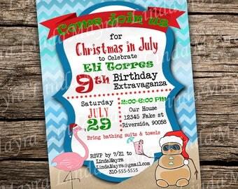 Christmas in Summer Birthday party Invitation digital download