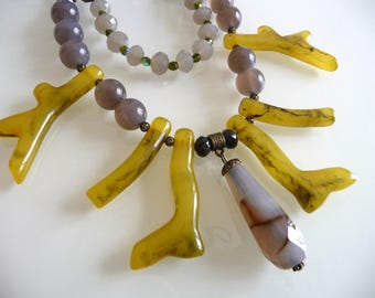 Ethnic chic necklace mustard yellow and grey