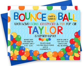 Ball Invitation, Bouncy Ball Party, Bouncy Ball Birthday Invitation, Bouncy Ball Invite,  Bouncy Ball Birthday, Ball Birthday   | 436
