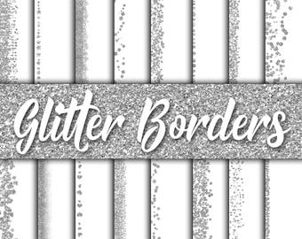 Silver Glitter Borders Digital Paper - Glitter Textures - Glitter Backgrounds -  16 designs - 12in x 12in - Commercial Use -INSTANT DOWNLOAD