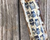 Handmade Ceramic Mezuzah Case -  cream with blue owls- stoneware