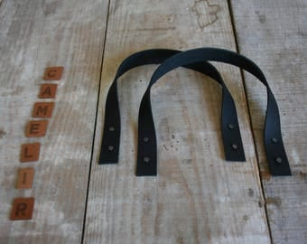 Bag handles leather black 35 CM