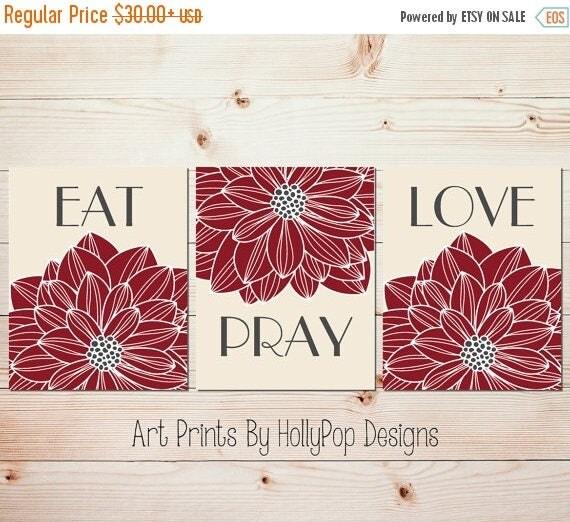 Dining Room Art Prints: Eat Pray Love Art Dining Room Wall Decor Kitchen Art Print Set