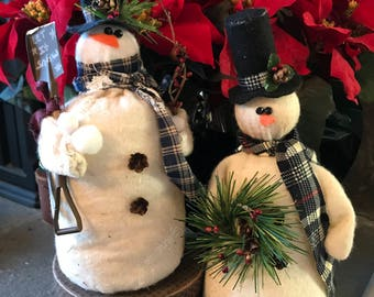 Primitive Snowman with Shovel and Snowballs or Snowman With Wreath, Handmade Snowman, Fabric Snowman
