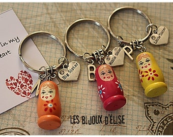 3 pcs Matryoshka Big Sister, Middle Sister, Little Sister Keychain Friendship Keychains Family Keychain (KC31-LOT 4)