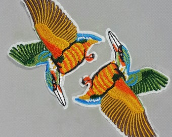 Iron On Embroidered Birds Patch Applique Badge, Flying Birds Badges
