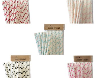 Hearts Paper Straws Party Table Decoration Birthday Drinking Accessories- various colour