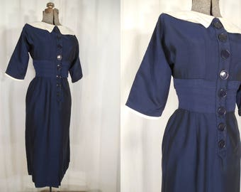 1940s Dress -  Small 40s Blue Day Dress with Sailor Collar and Button Front