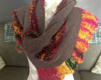 Asymmetrical Shawl with Colorful Lace Edge