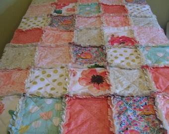 Crib Rag Quilt, Fox Coral Aqua Pink Gold  Peach Roses Floral Baby Quilt Baby Girl Crib Bedding Shabby