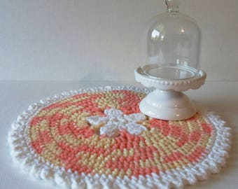 Handmade Cottage Style Table Topper Cotton Yarn Crocheted Doily