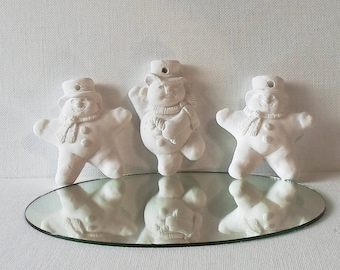 Vintage Craft Supplies Creative Crafts Plaster Snowman Ornaments Ready to Paint
