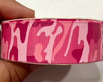 Hot Pink Pink Light Pink Camouflage Ribbon 7/8inch grosgrain ribbon sold by the yard from Hair Bow Center