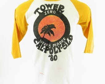 Vintage 80s Tower Cal-Poly T-Shirt L Two Tone 50/50 USA Gulf Coast Sportswear [H99B_0-9]
