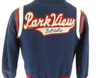 Vintage 70s Parkview Patriots Varsity Jacket Mens 38 Letterman Basketball [H19Y_2-13]