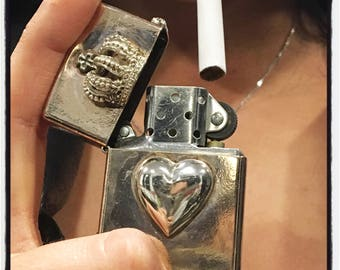 Sterling Silver Heart Lighter Case Lighter Case Custom Made Lighter Case Handmade Lighter Case Custom Heart Crown Lighter Holder Smoking