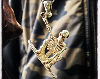 Sterling Silver Skull Surfer Pendant Skull Pendant Silver Skull Surfer Pendant Silver Skull Necklace Pendant Badass Biker Outlaw Pendant
