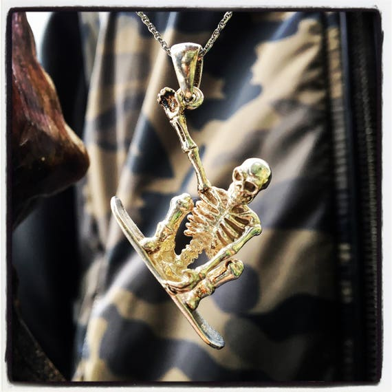 Etherial Jewelry - Rock Chic Talisman Luxury Biker Custom Handmade Artisan Pure Sterling Silver .925 Handcrafted Skull Surfer Pendant