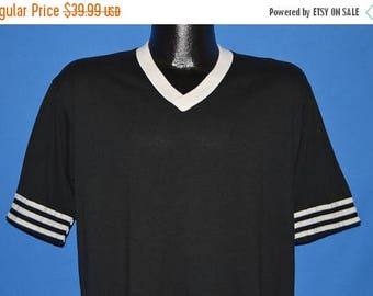 ON SALE 80s Black White Striped Jersey Blank t-shirt Large