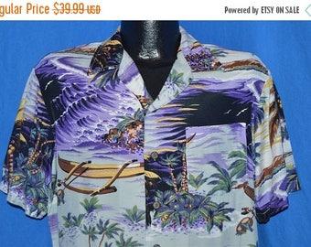 ON SALE 80s Kennington Purple Island Beach Palm Tree Aloha Hawaiian Shirt Medium