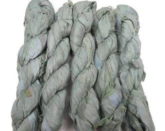 SALE 50g Recycled Sari Silk Ribbon, Light Mint