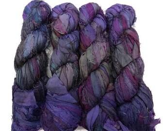 SALE New! Recycled Sari Silk Ribbon, color: Purple/ Steel Blue