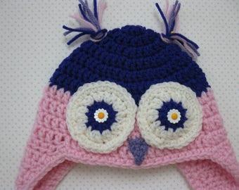 Owl Hat Crochet Girl Cute Warm 6-12 months