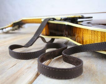 MS37 Leather  Mandolin Strap, Custom Made, Bluegrass Mandolin Strap, Gift for Mandolin Player,
