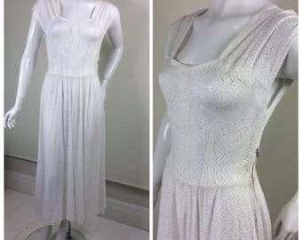 1940s White Lace Dress, UK Size 10, US Size 8