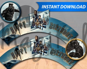 Black Panther Cupcake Wrappers - PRINTABLE INSTANT DOWNLOAD
