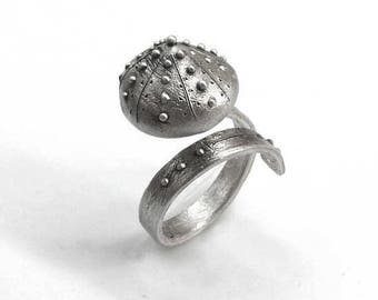 Sea urchin test Shape Sterling Silver adjustable ring, Oxidized with Satine Matte finish. Summer Trends. Ready to ship