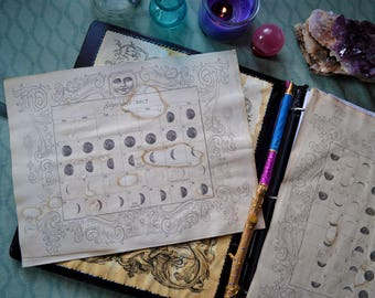 Lunar Chart Book of Shadows Page / Moon Astrology BOS Pages / Astrological Moon Calendar Grimoire Sheet / Divination Pagan Planner Accessory