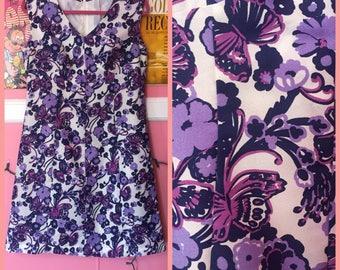 60s purple butterfly babydoll dress