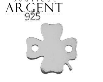 11.1 mm 925 sterling silver charm in the shape of clover with two holes