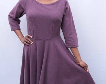 Soft purple wool dress size 12-14 wool boat neck circle skirt dress handmade by The Emperor's Old Clothes