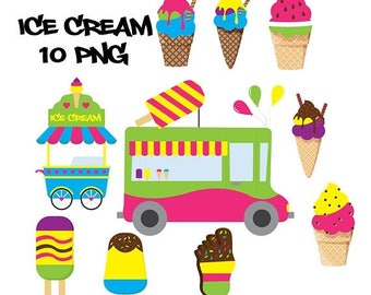 Ice cream clipart, ice cream clip art, ice cream truck, pink, green, blue, yellow, sprinkles, purple, summer clipart, food clipart, dessert