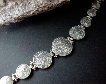 Sterling Silver 925 Ancient Greek Minoan Phaistos Disc Gradual Bracelet 19 cm  - 7.41 inches, Griechisches Silber Phaistos Armband Schmuck