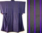Black purple stripe kimon...