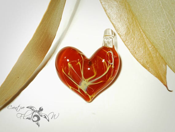 Glass Heart - Poppy Red Heart Pendant - Glass Jewelry - Glass Art - Heart Pendant - Blown Glass - Heart Charm - Unique Bead - Silver Details