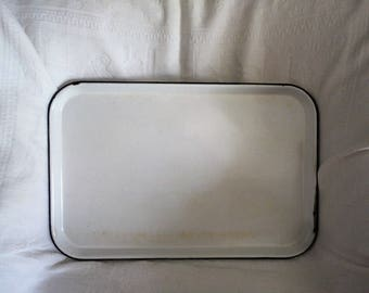 Vintage Enamelware Photography Serving Refrigerator Tray Sterilizing Serving Platter Rectangular