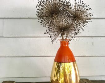 Vintage Mid Century Modern Gold and Orange Tapered Glass Vase