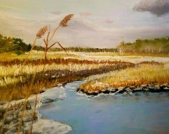 Original pastel, Cape Cod pastel, Cape Cod artwork, Cape Cod winter Marsh, pastel landscape painting
